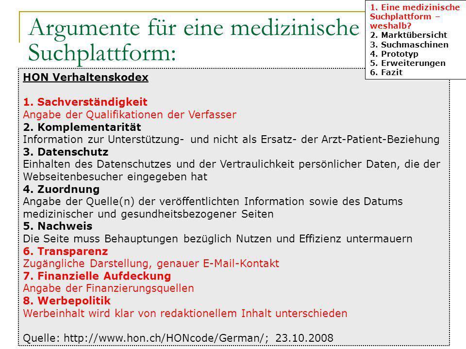Argumente für eine medizinische Suchplattform: