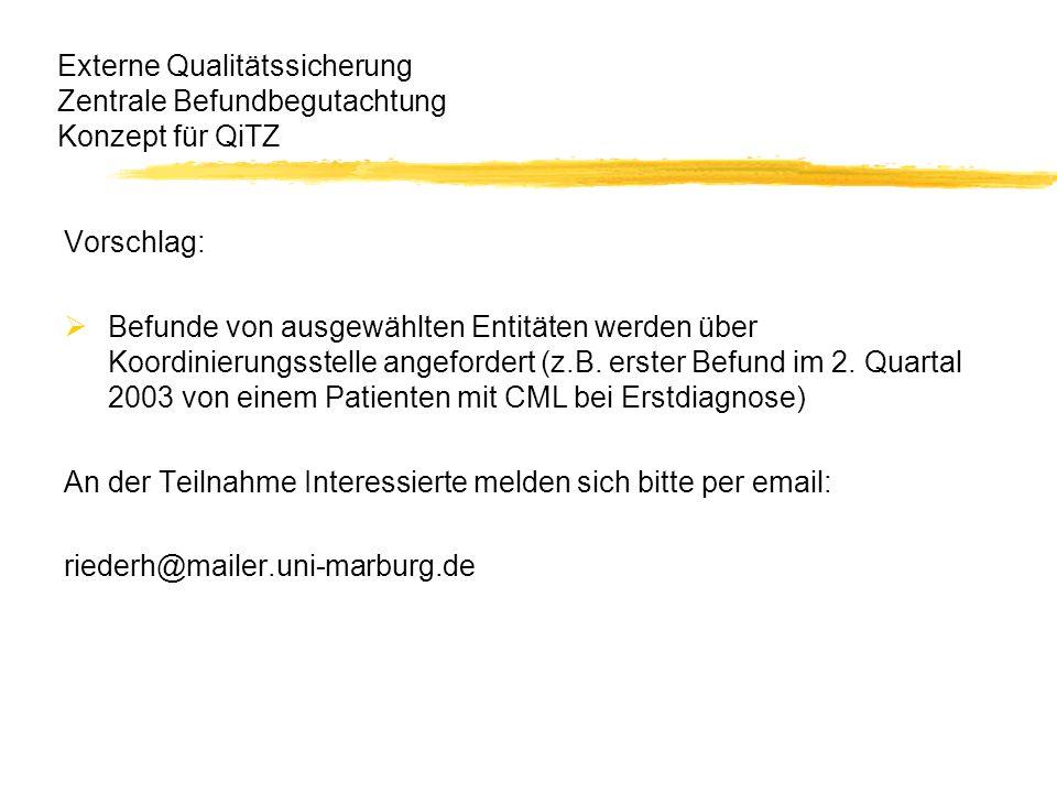 Externe Qualitätssicherung Zentrale Befundbegutachtung Konzept für QiTZ
