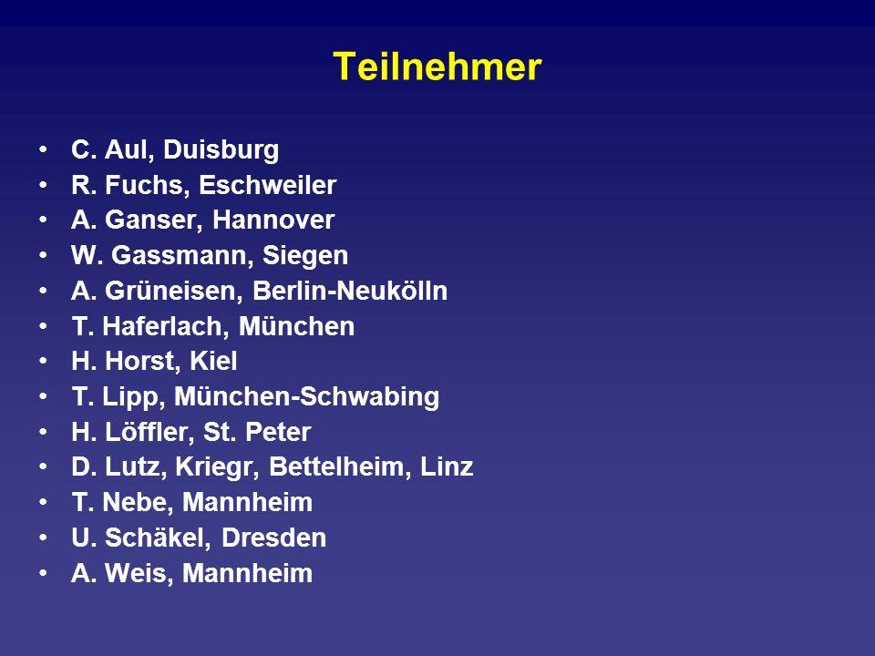 Teilnehmer C. Aul, Duisburg R. Fuchs, Eschweiler A. Ganser, Hannover