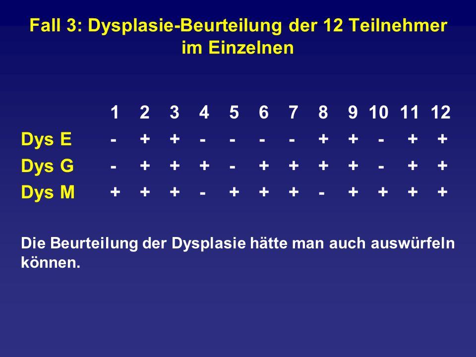 Fall 3: Dysplasie-Beurteilung der 12 Teilnehmer im Einzelnen
