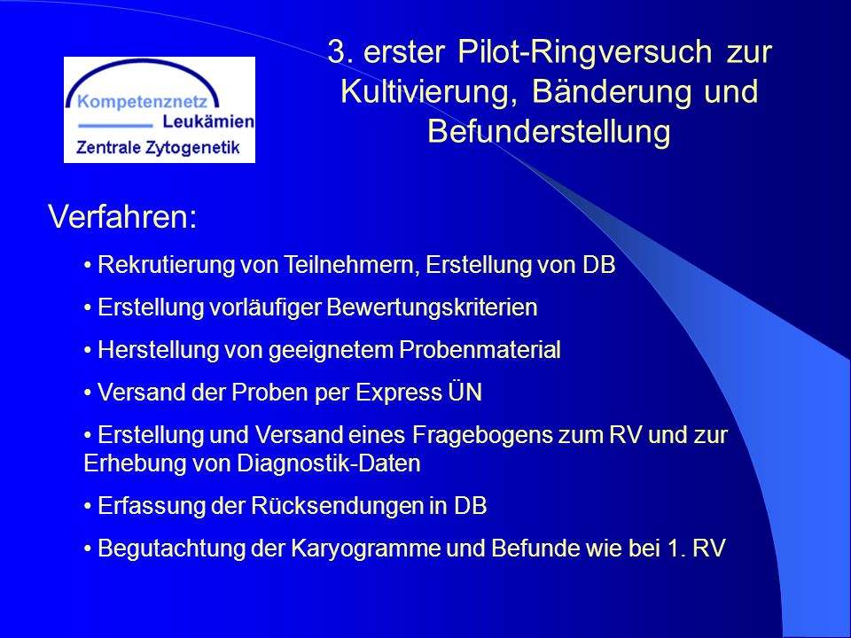 3. erster Pilot-Ringversuch zur Kultivierung, Bänderung und Befunderstellung