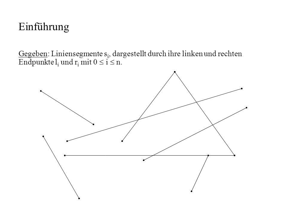 Einführung Gegeben: Liniensegmente si, dargestellt durch ihre linken und rechten Endpunkte li und ri mit 0  i  n.