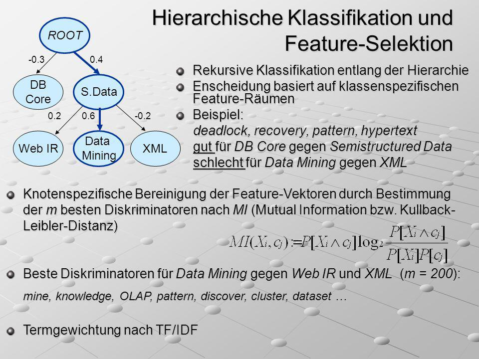 Hierarchische Klassifikation und Feature-Selektion