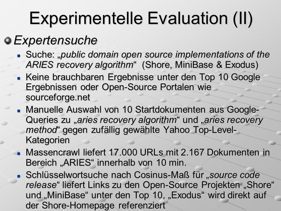 Experimentelle Evaluation (II)