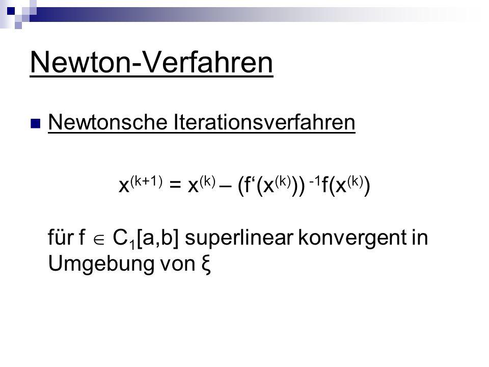 x(k+1) = x(k) – (f'(x(k))) -1f(x(k))