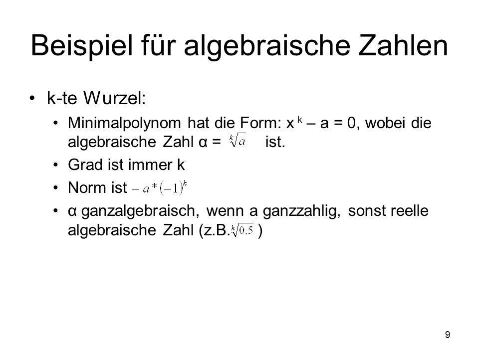 Beispiel für algebraische Zahlen