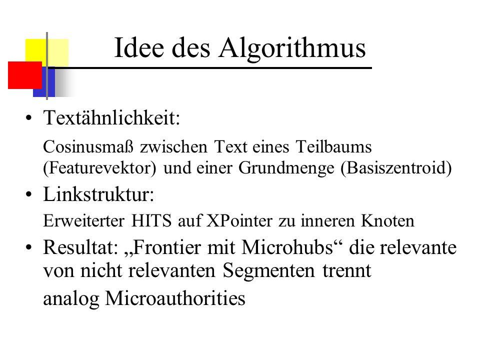 Idee des Algorithmus Textähnlichkeit: