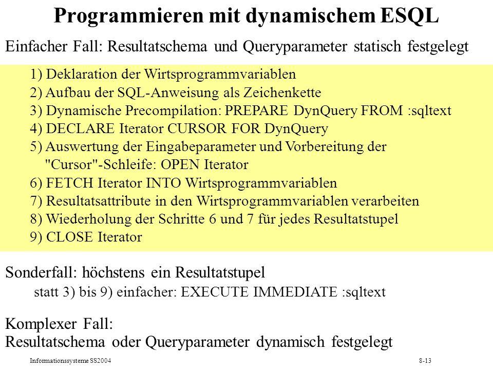 Programmieren mit dynamischem ESQL
