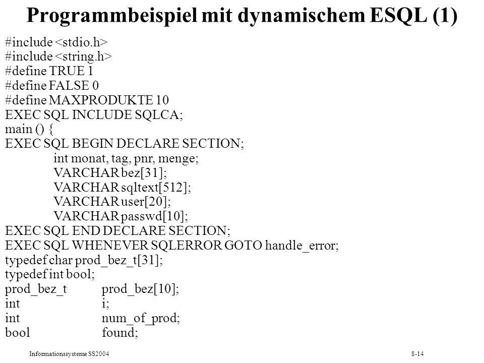 Programmbeispiel mit dynamischem ESQL (1)