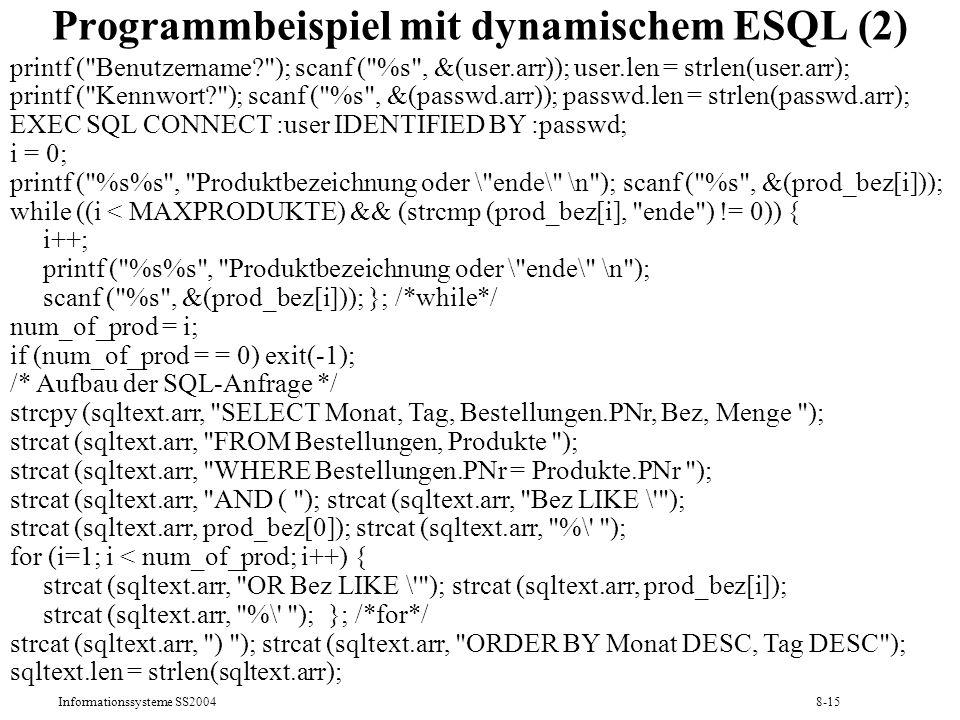 Programmbeispiel mit dynamischem ESQL (2)