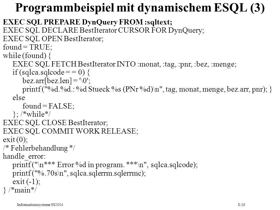 Programmbeispiel mit dynamischem ESQL (3)