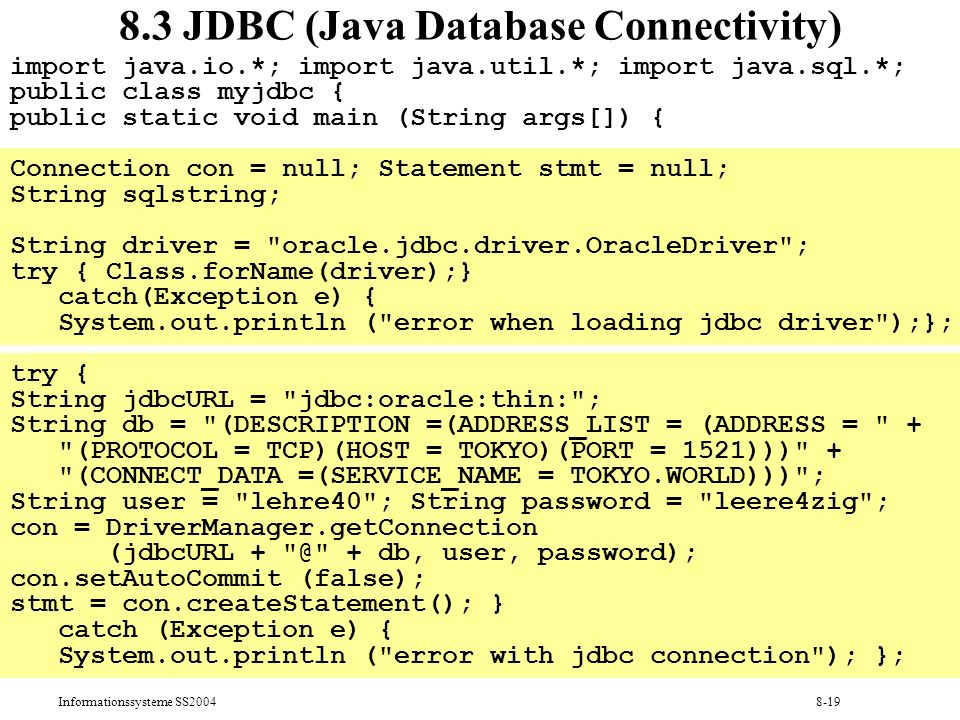8.3 JDBC (Java Database Connectivity)