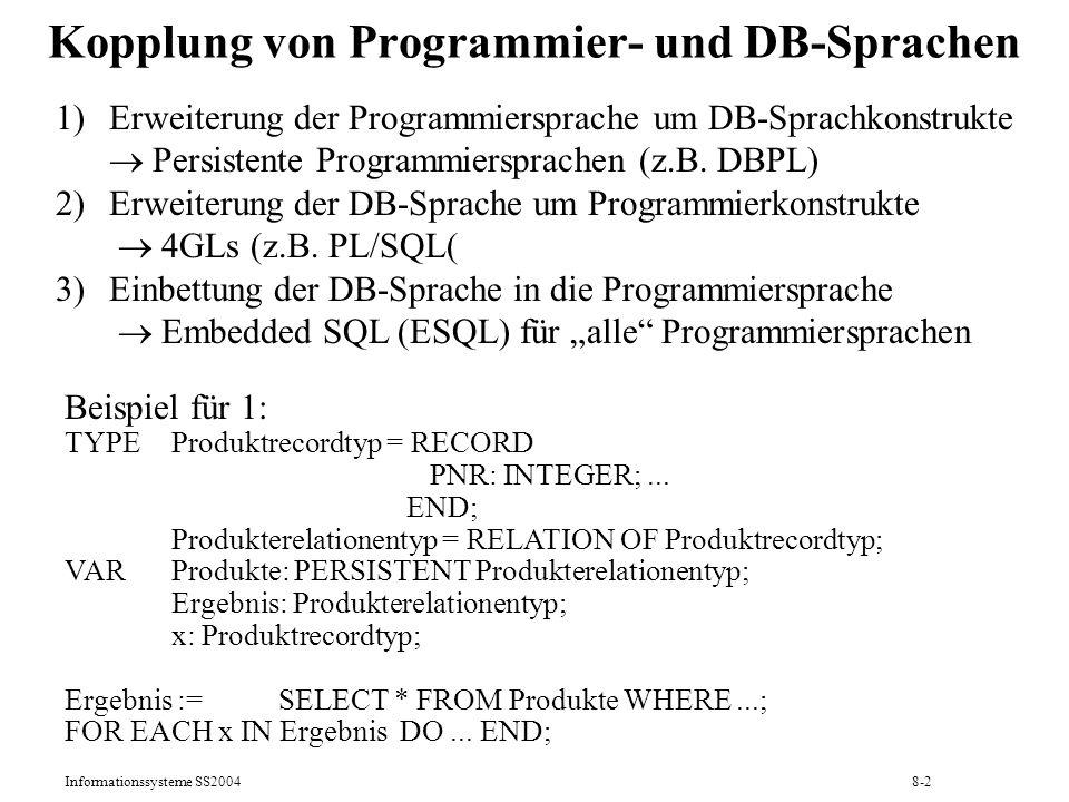 Kopplung von Programmier- und DB-Sprachen