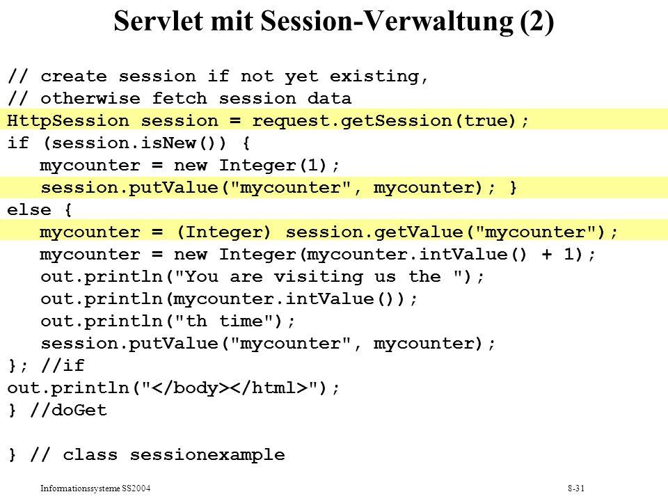 Servlet mit Session-Verwaltung (2)