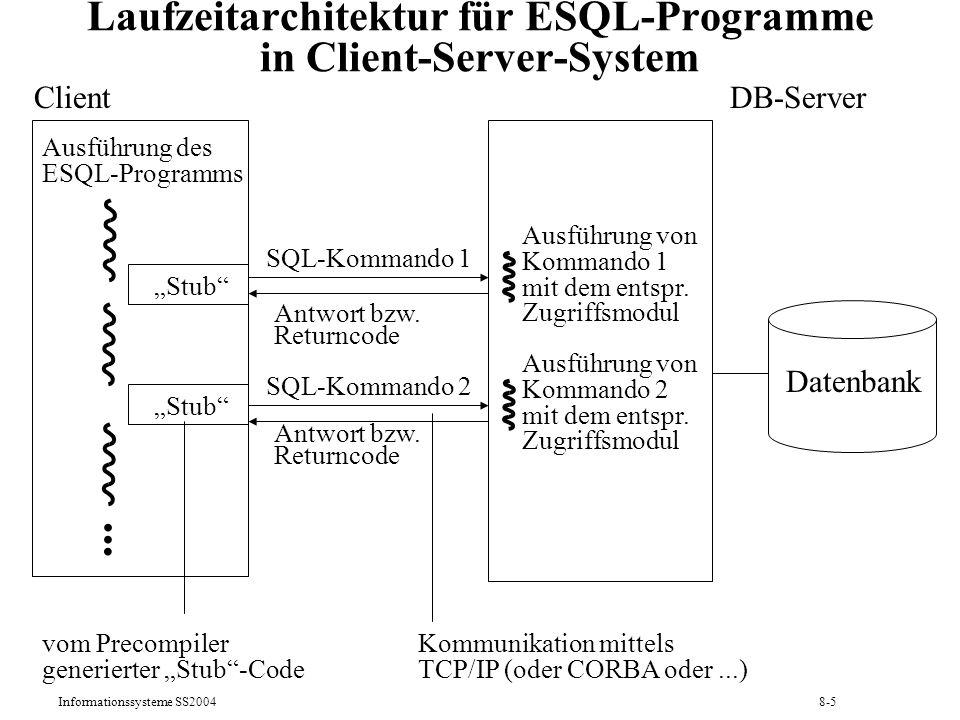 Laufzeitarchitektur für ESQL-Programme in Client-Server-System
