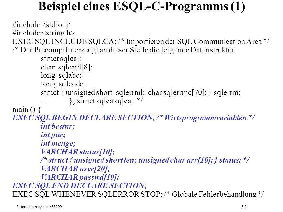 Beispiel eines ESQL-C-Programms (1)