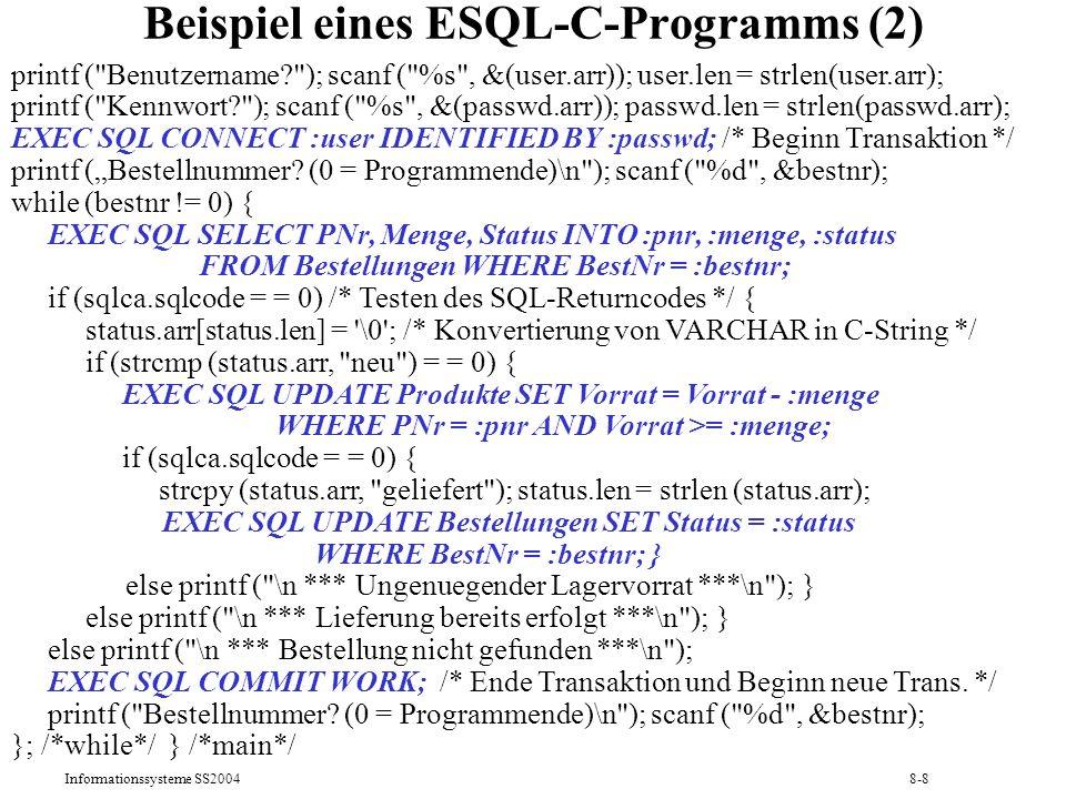 Beispiel eines ESQL-C-Programms (2)