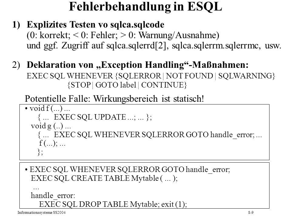 Fehlerbehandlung in ESQL