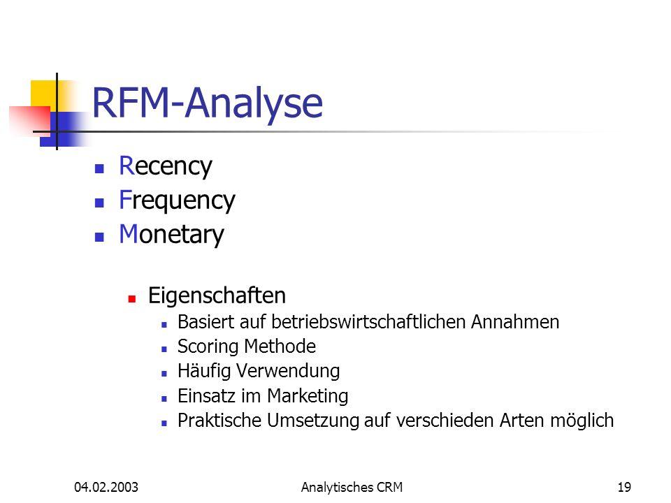 RFM-Analyse Recency Frequency Monetary Eigenschaften
