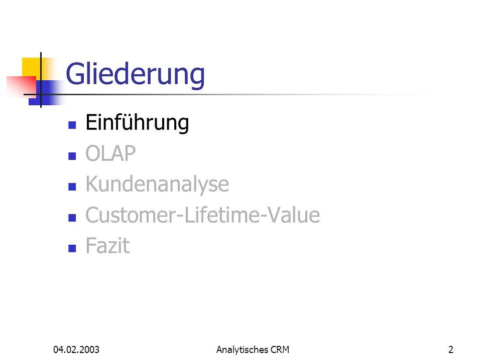 Gliederung Einführung OLAP Kundenanalyse Customer-Lifetime-Value Fazit