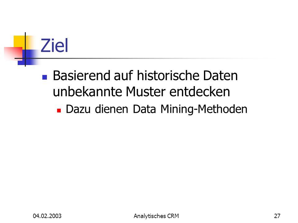 Ziel Basierend auf historische Daten unbekannte Muster entdecken