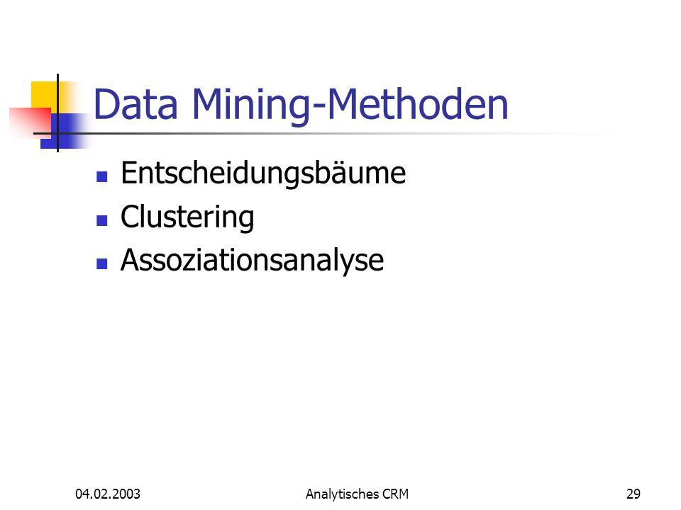 Data Mining-Methoden Entscheidungsbäume Clustering Assoziationsanalyse