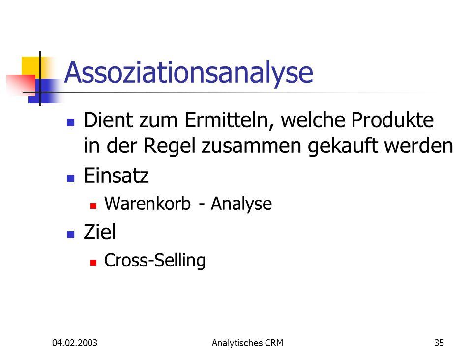 Assoziationsanalyse Dient zum Ermitteln, welche Produkte in der Regel zusammen gekauft werden. Einsatz.