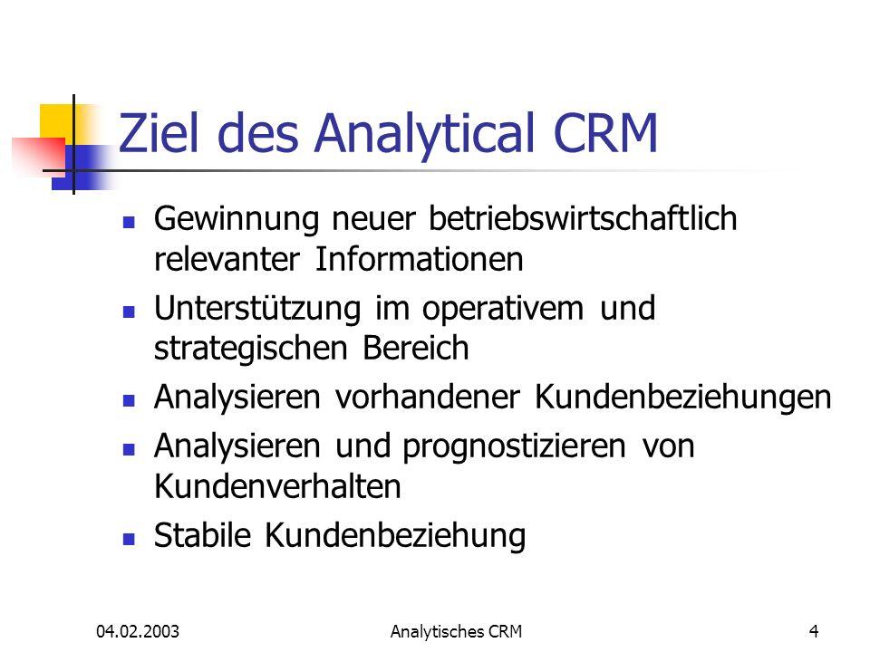 Ziel des Analytical CRM