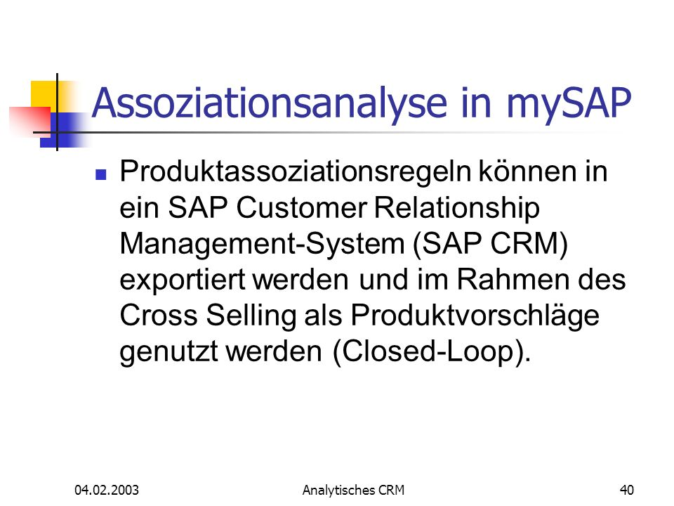Assoziationsanalyse in mySAP
