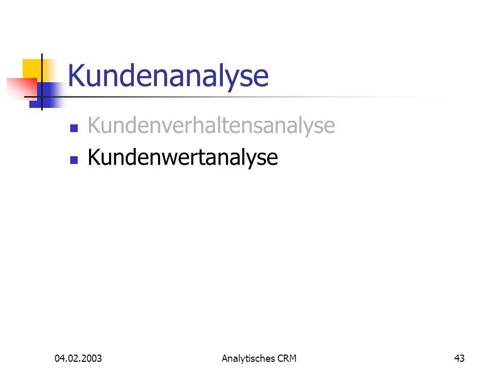 Kundenanalyse Kundenverhaltensanalyse Kundenwertanalyse 04.02.2003