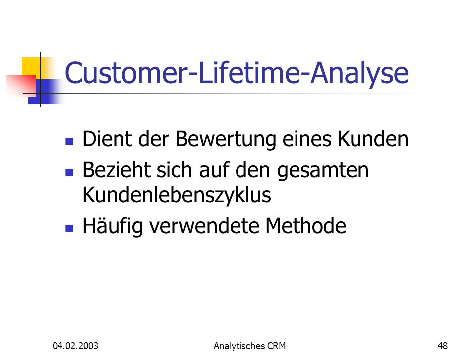 Customer-Lifetime-Analyse