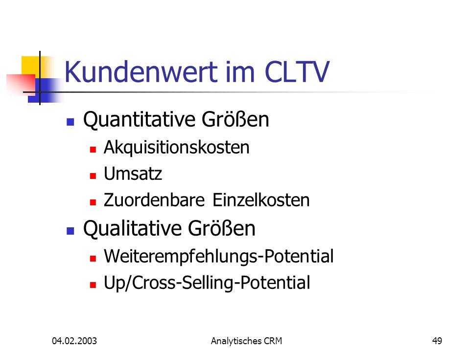 Kundenwert im CLTV Quantitative Größen Qualitative Größen
