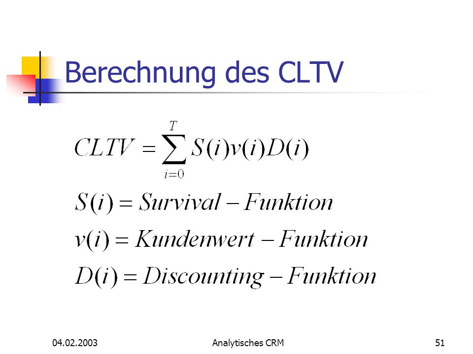 Berechnung des CLTV 04.02.2003 Analytisches CRM