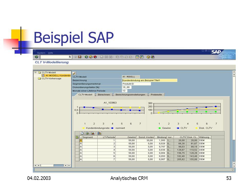 Beispiel SAP 04.02.2003 Analytisches CRM