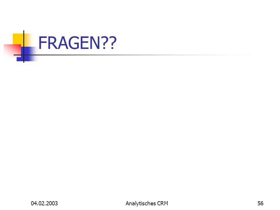 FRAGEN 04.02.2003 Analytisches CRM