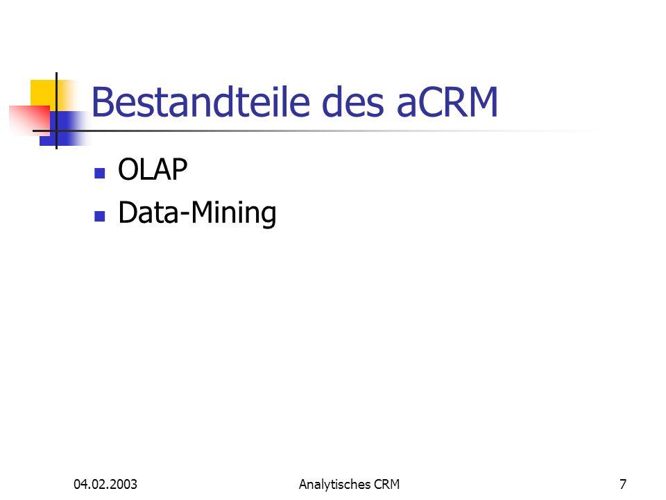 Bestandteile des aCRM OLAP Data-Mining 04.02.2003 Analytisches CRM