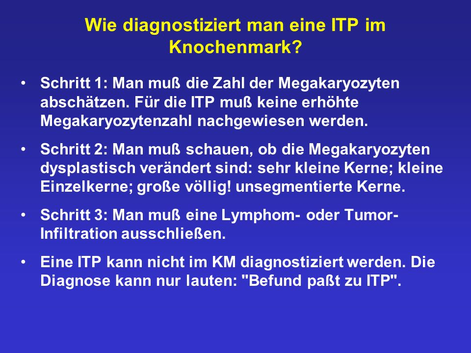 Wie diagnostiziert man eine ITP im Knochenmark