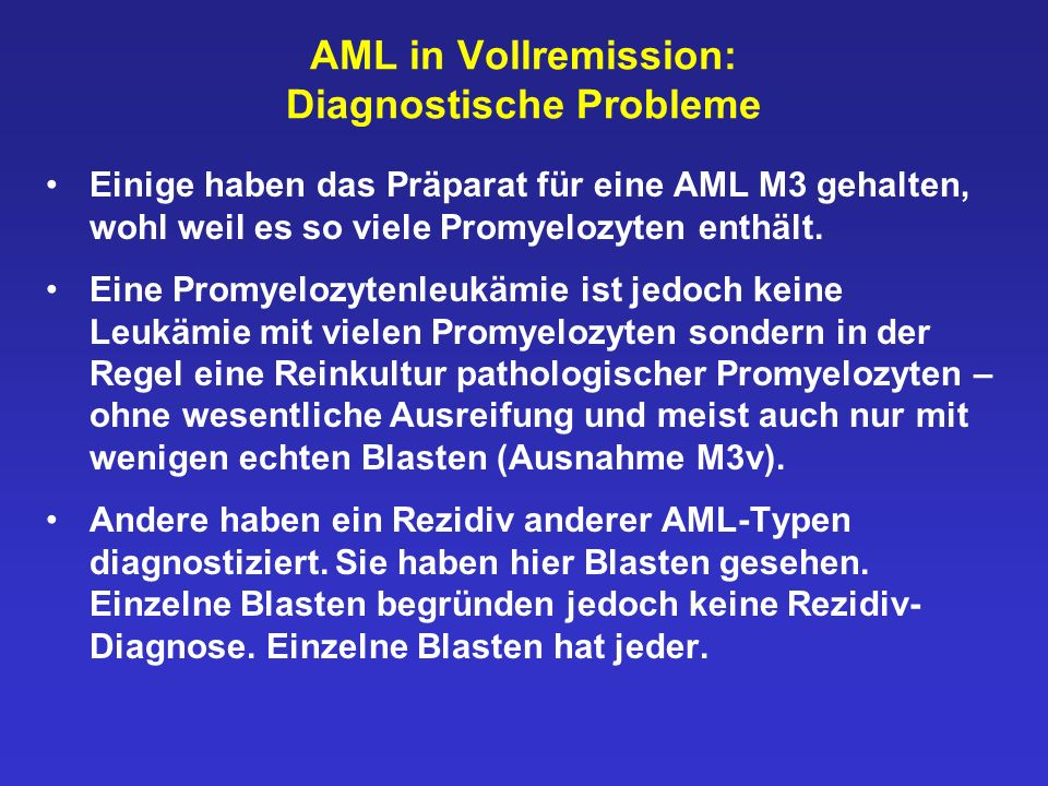 AML in Vollremission: Diagnostische Probleme