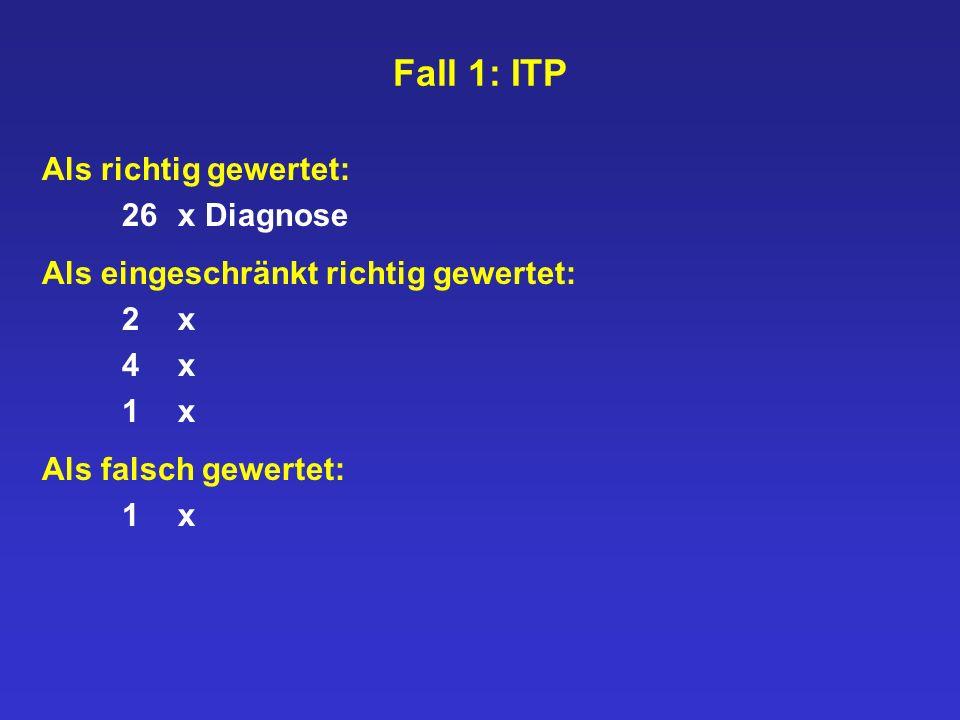 Fall 1: ITP Als richtig gewertet: 26 x Diagnose