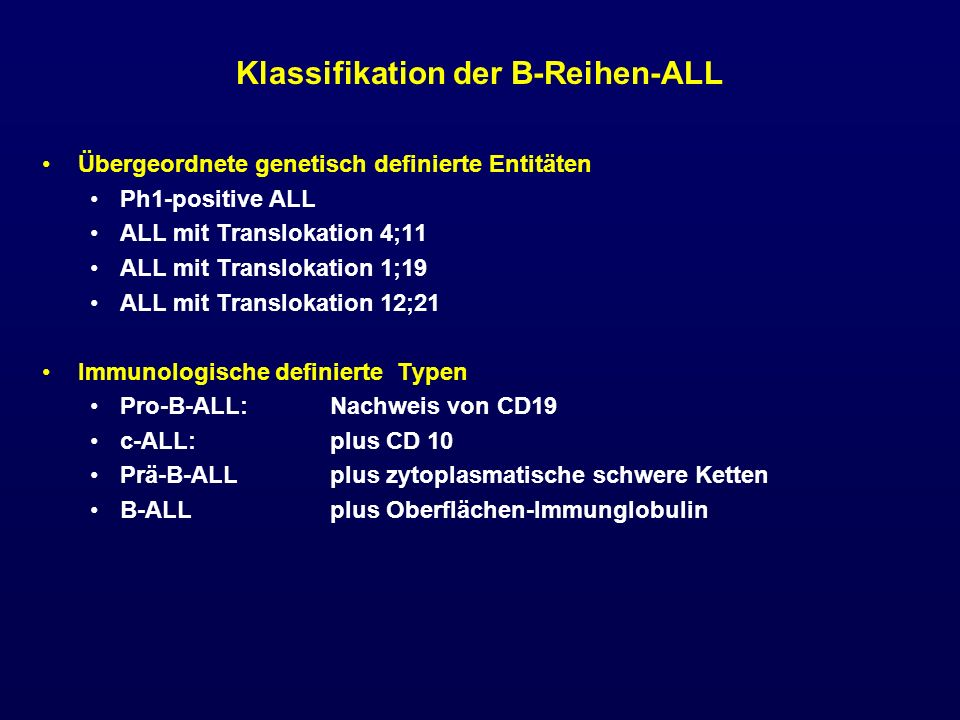 Klassifikation der B-Reihen-ALL