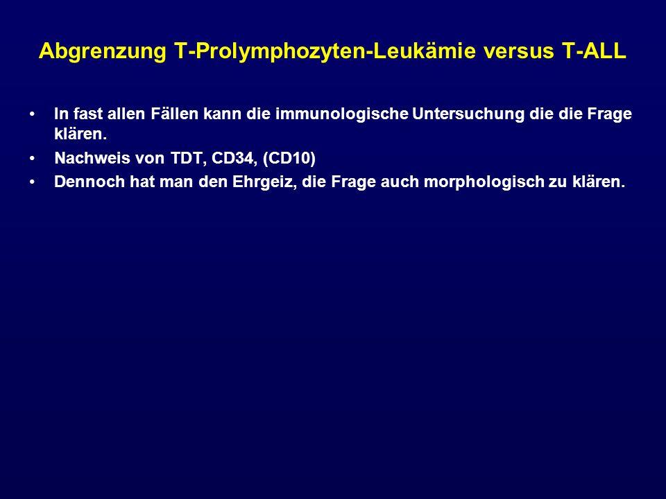 Abgrenzung T-Prolymphozyten-Leukämie versus T-ALL