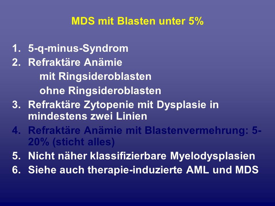 MDS mit Blasten unter 5%5-q-minus-Syndrom. Refraktäre Anämie. mit Ringsideroblasten. ohne Ringsideroblasten.