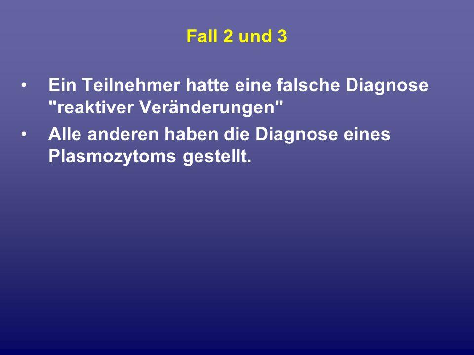 Fall 2 und 3 Ein Teilnehmer hatte eine falsche Diagnose reaktiver Veränderungen Alle anderen haben die Diagnose eines Plasmozytoms gestellt.