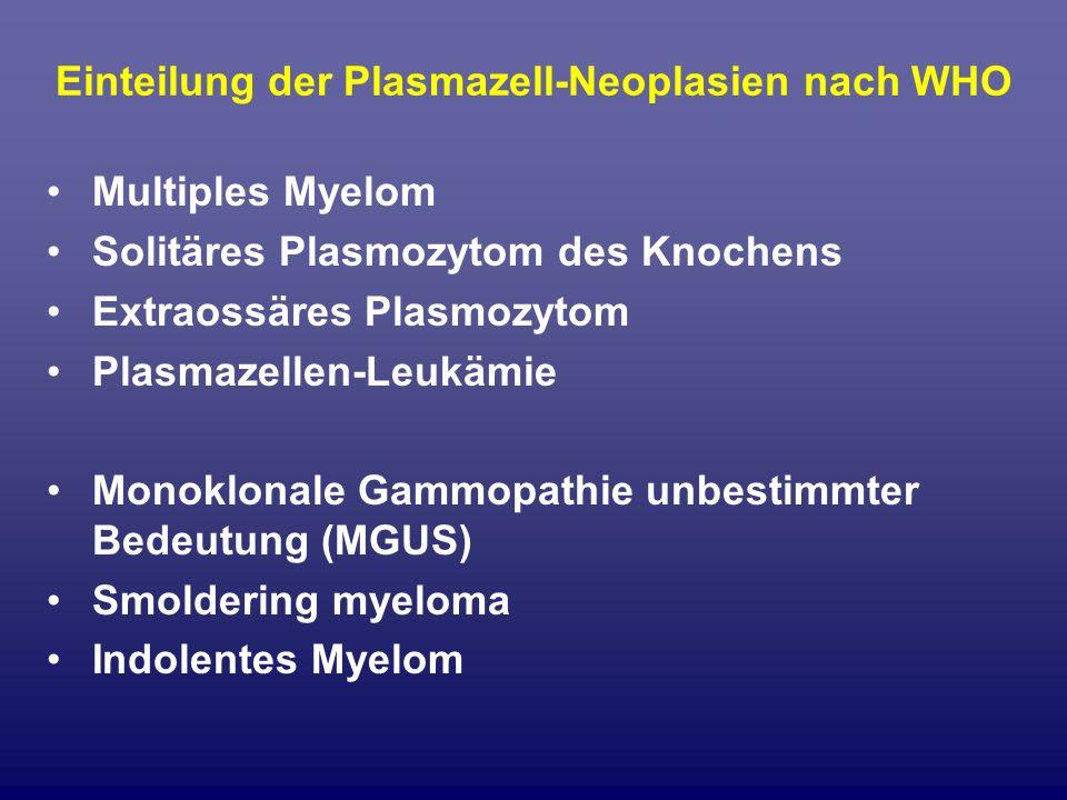 Einteilung der Plasmazell-Neoplasien nach WHO