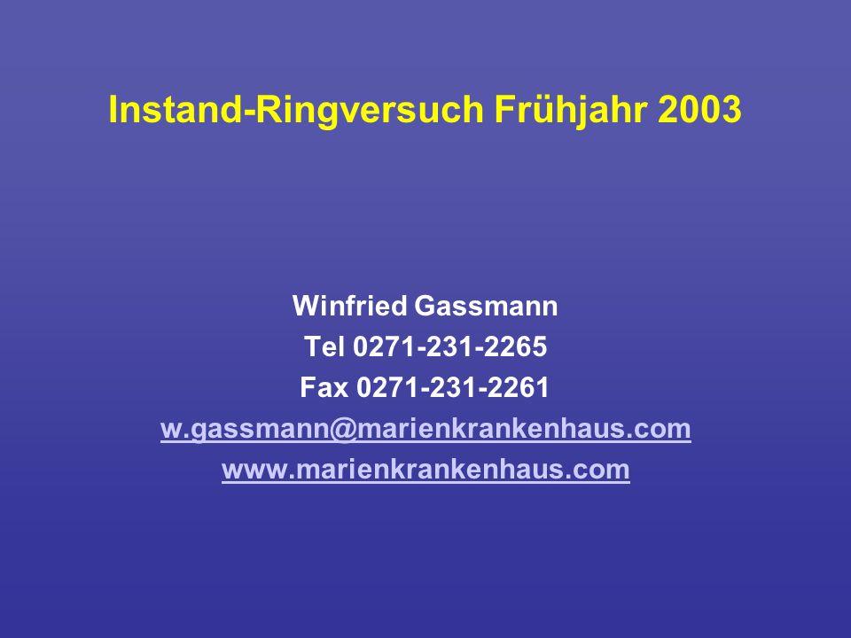 Instand-Ringversuch Frühjahr 2003