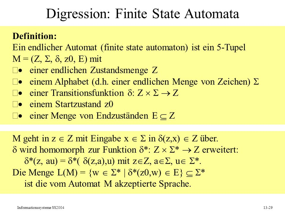 Digression: Finite State Automata