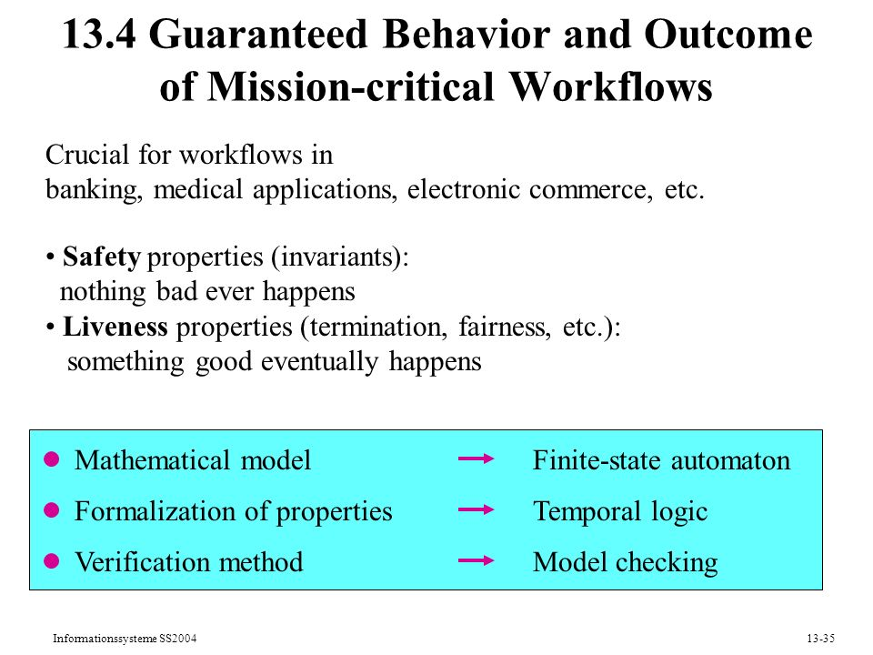 13.4 Guaranteed Behavior and Outcome of Mission-critical Workflows