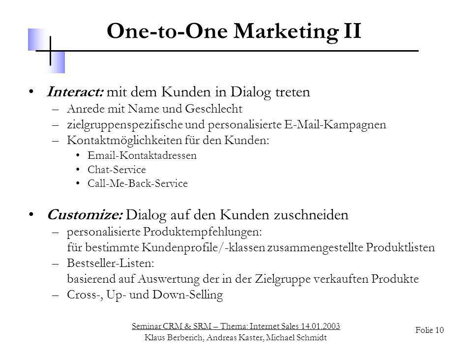 One-to-One Marketing II