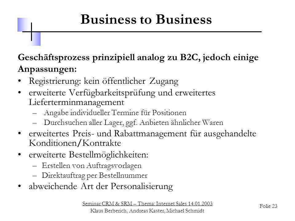 Business to Business Geschäftsprozess prinzipiell analog zu B2C, jedoch einige. Anpassungen: Registrierung: kein öffentlicher Zugang.