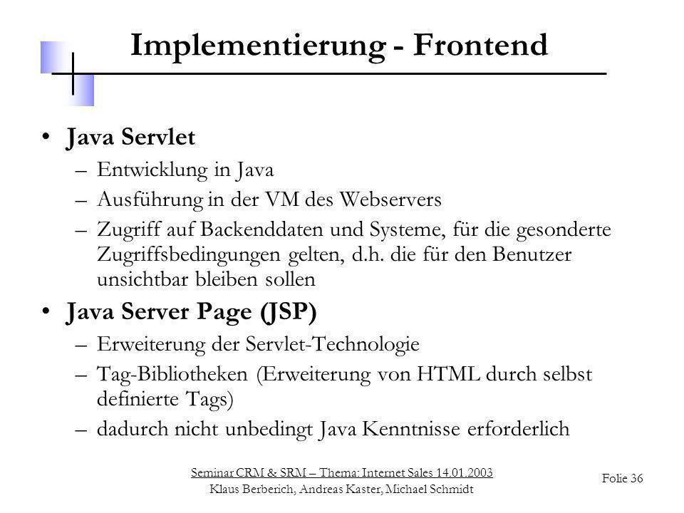 Implementierung - Frontend